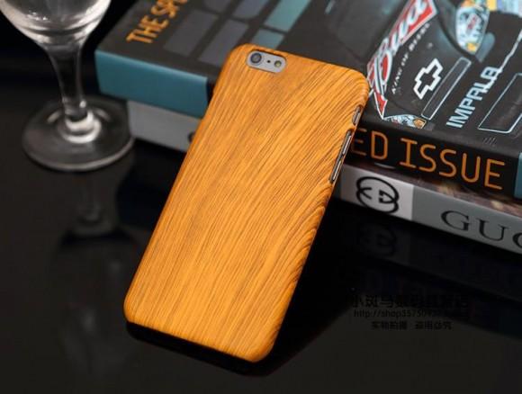 Obal na iphone 6 a 6 plus s imitáciou oranžového dreva
