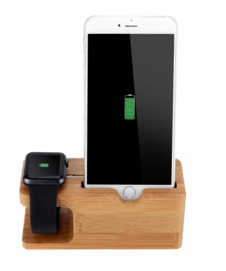 Bambusový stojan dock na iphone a apple watch www.luxur.sk