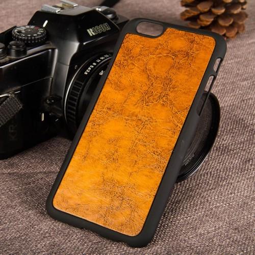 Kožený obal na iphone 6 a iphone 6s s plastom  hnedý www.luxur.sk    žltý