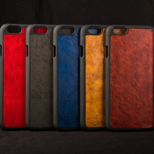 Kožený obal na iphone 6 a iphone 6s s plastom  hnedý www.luxur.sk    d