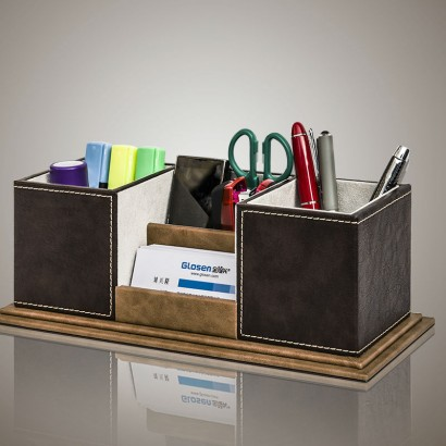 high-grade-wooden-leather-pen-holder-cute-pencil-case-tv-remote-control-makeup-stationery-organizer-desktop